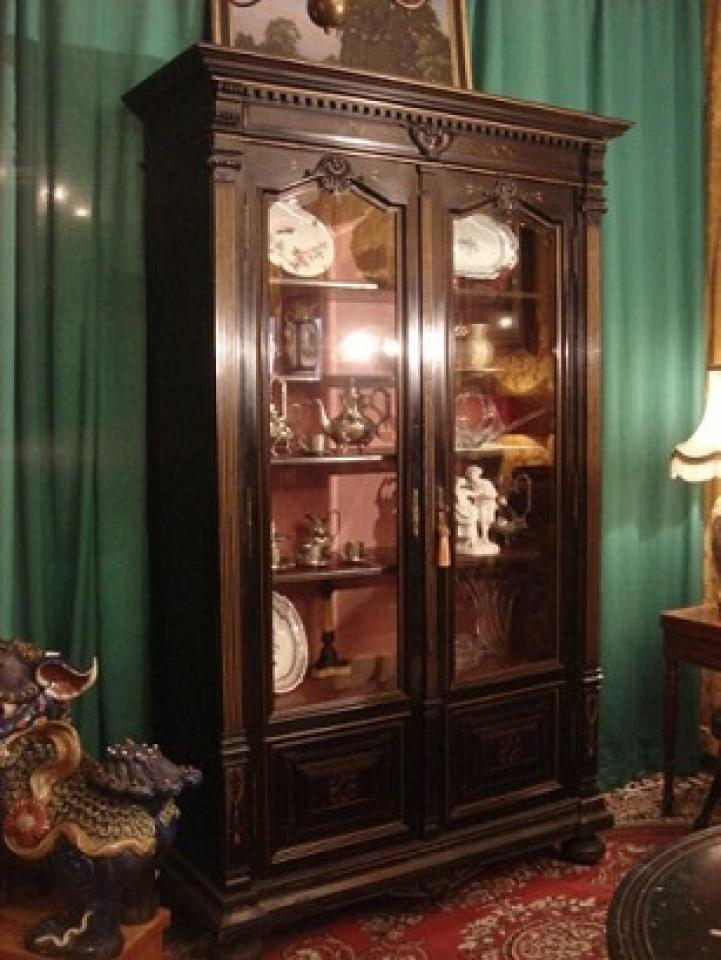biblioth que en bois noirci napoleon iii la fontaine. Black Bedroom Furniture Sets. Home Design Ideas